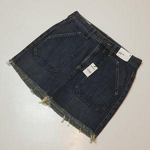 Express - Demim Straight Mini Mid Rise Skirt